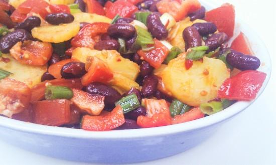 Warmer Kartoffelsalat mit Bohnen1