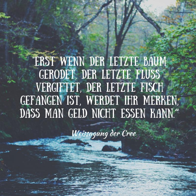 """""""Erst wenn der letzte Baum gerodet, der letzte Fluss vergiftet, der letzte Fisch gefangen ist, wer"""